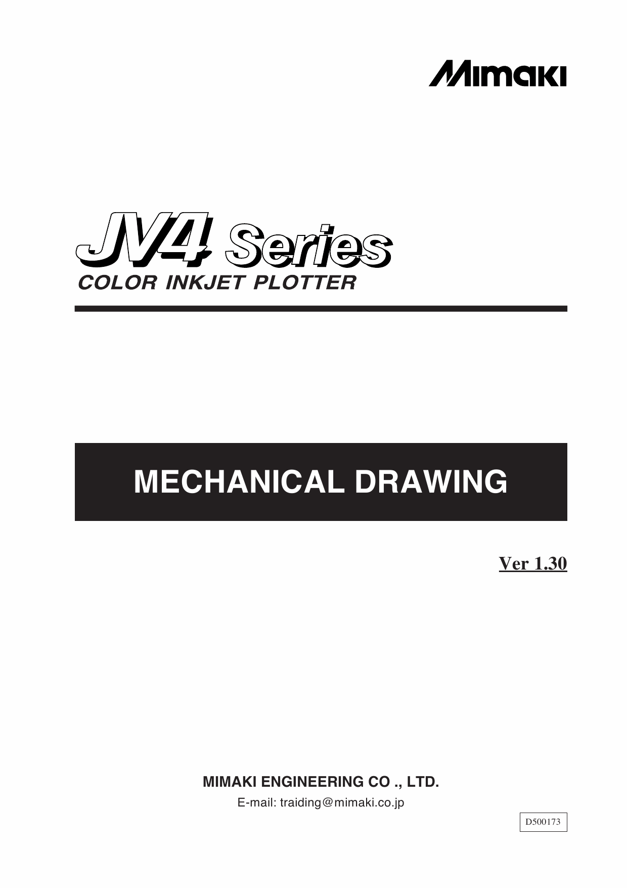 MIMAKI JV4 130 160 180 MECHANICAL DRAWING Parts Manual-1
